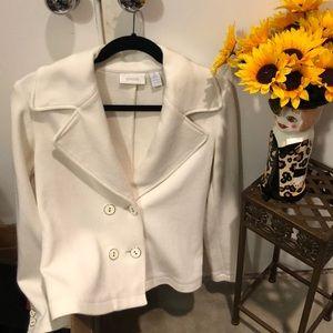 Chicos soft doublebreast cotton blazer- look top.